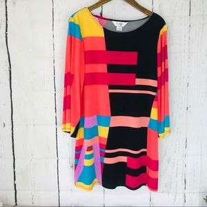 Allison Taylor flirty multi color pattern dress